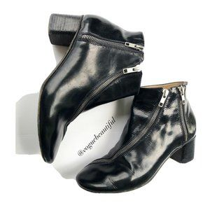Acne Black Patent Leather Moto Booties with Zipper